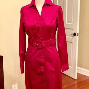 Burgundy long sleeve belted button dress
